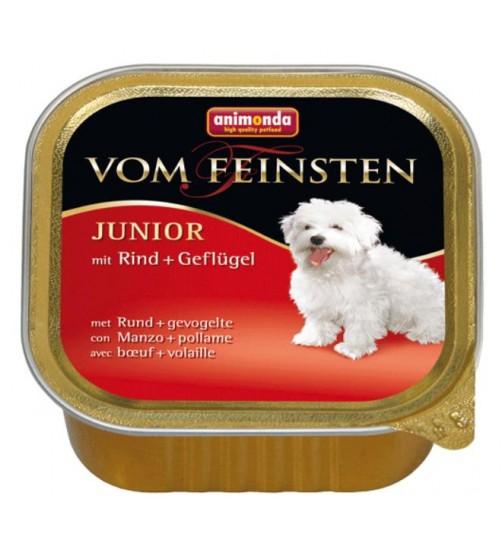 خوراک فشرده (پاته) بیف و مرغ مخصوص توله سگ/ 150 گرم/ Animonda Vom Feinsten Junior