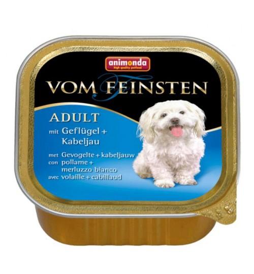 خوراک فشرده (پاته) گوشت ماکیان و ماهی کاد مخصوص سگ بالغ/ 150 گرم/  َAnimonda Vom Feinsten  with poultry + cod