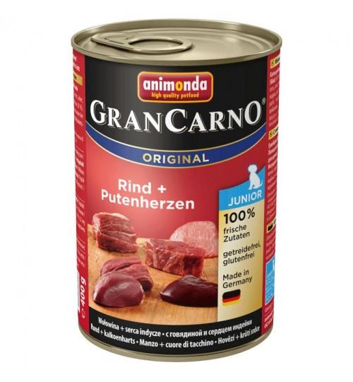 كنسرو گوشت گوساله و دل بوقلمون مخصوص توله سگ/ 400 گرمی/ Animonda GranCarno Junior beef + turkey hearts