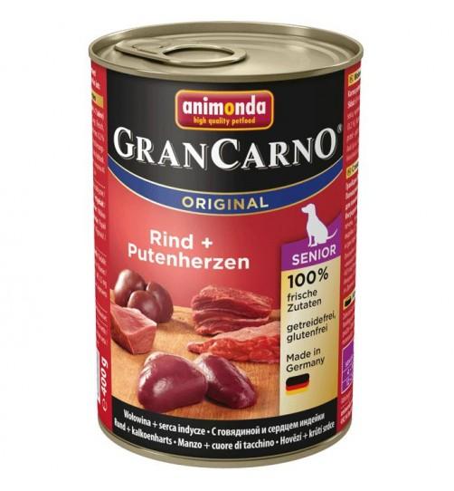 کنسرو گوشت گوساله و دل بوقلمون مخصوص سگ های پیر و مسن/400 گرمی/ Animonda GranCarno Senior beef + turkey hearts