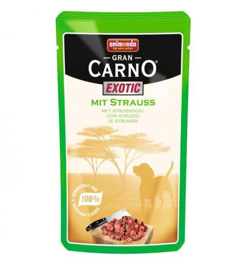 سوپ گوشت شترمرغ  مخصوص سگ بالغ/125گرم/ Animonda GranCarno  Exotic with Strauss