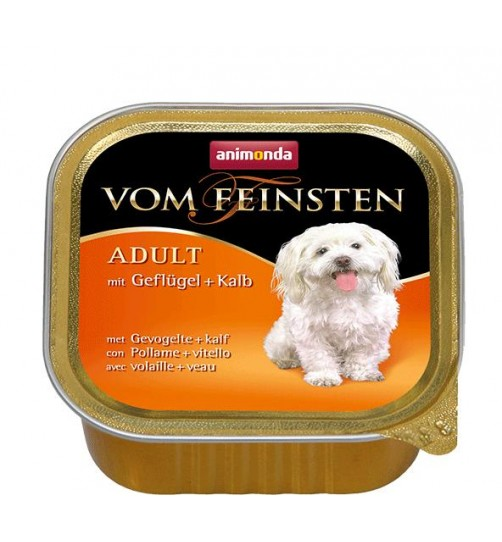 خوراک فشرده (پاته) گوشت ماکیان + گوساله مخصوص سگ بالغ/ 150 گرم/Animonda Vom Feinsten with poultry + veal
