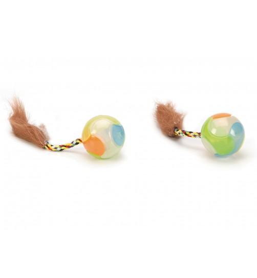 اسباب بازی گربه- توپ پردار شب تاب/ بسته 2 عددی