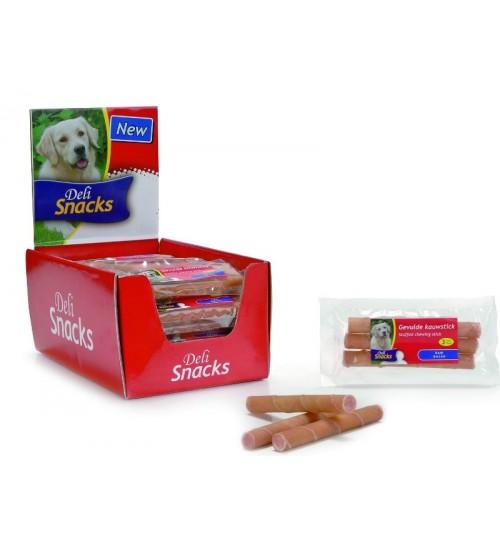 تشویقی رول جویدنی پر شده با بیکن/ 3 عدد 13 سانتی/ Chew Sticks Ham - Deli Snacks