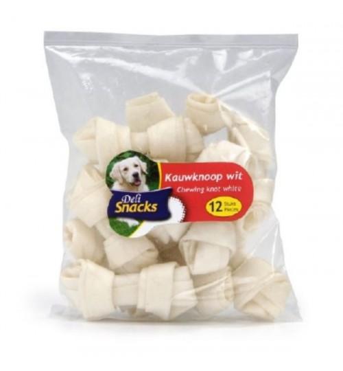 استخوان تشویقی گره دار سفید/ 12 عدد 7 سانتی/ Snacks Deli chewing knot white