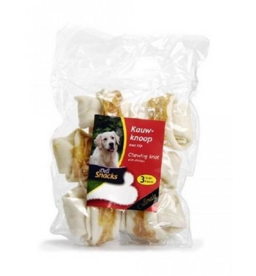 استخوان تشویقی گره دار با روکش مرغ/ 3 عدد 13 سانتی/ Snacks Deli chewing knot white With Chicken