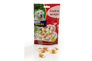 بیسکوئیت تشویقی سگ با فیله خشک شده مرغ/ 100 گرم/ Cookie Wraps - DeliSnacks