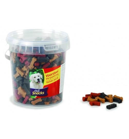 تشویقی سطلی سگ- مخلوط 3 طعم/ 500  گرم/ DeliSnacks Mini Bones Mix