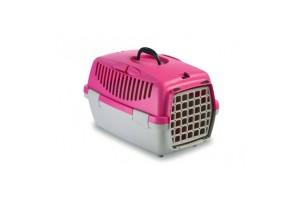 باکس حمل  Gulliver 1 با درب پلاستیکی مخصوص سگ و گربه/ صورتی-طوسی