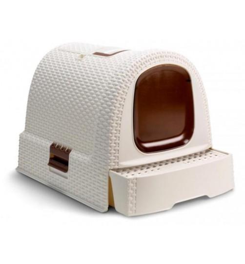 باکس توالت مسقف گربه مدل موکا/ سفید