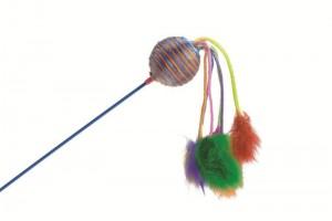 اسباب بازی گربه میله با توپ جغجغه ای و پرهای رنگارنگ/ 60 سانتی