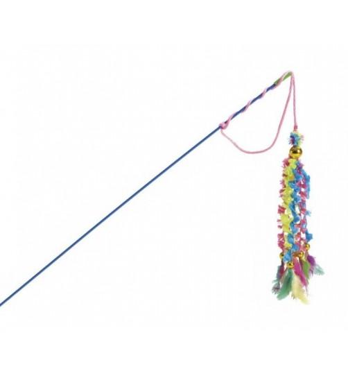 اسباب بازی میله ماهیگیری گربه با آویز های مخمل و پر/ 46 سانتی