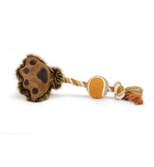 اسباب بازی پنجه مخملی با طناب و توپ تنیس مخصوص سگ/ 38 سانتی