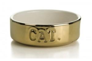 ظرف سرامیکی طلایی گربه/ 200 میلی لیتر