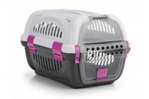 باکس حمل Rhino با درب پلاستیکی مخصوص سگ های کوچک و گربه/ طوسی - صورتی