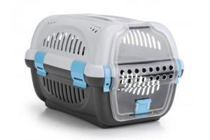 باکس حمل Rhino با درب پلاستیکی مخصوص سگ های کوچک و گربه/ طوسی - آبی