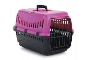 باکس حمل  Gypsy با درب پلاستیکی مخصوص سگ های کوچک و گربه/ صورتی - دودی