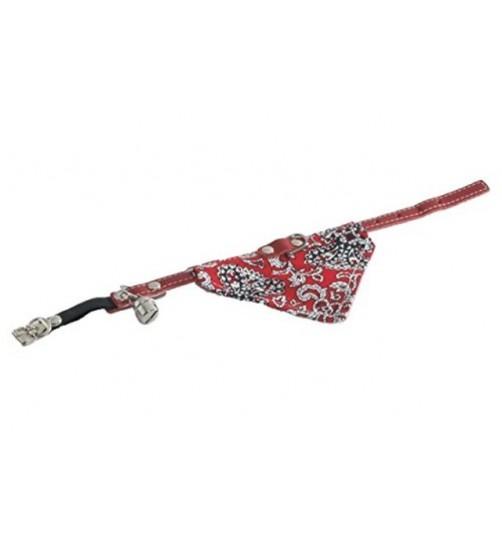 قلاده گردنی گربه با دستمال گردن و زنگوله/ 23~27 سانتی/ قرمز