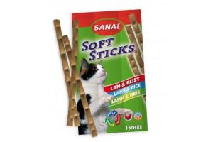 اسنک میله ای گربه/ گوشت بره و برنج/ 3 عدد/ Sanal Softsticks, lamb and rice