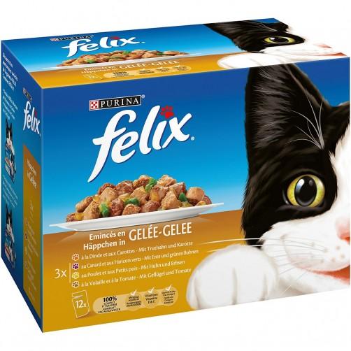 پوچ گربه felix در 4 طعم ماکیان و سبزیجات - بسته 12 تایی