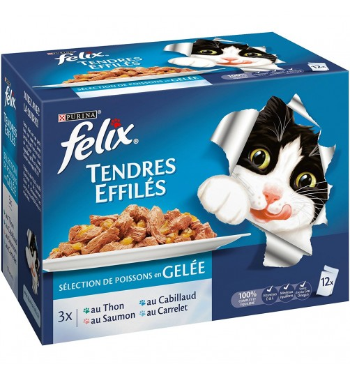 پوچ گربه felix tendres effilés در 4 طعم دریایی- بسته 12 تایی