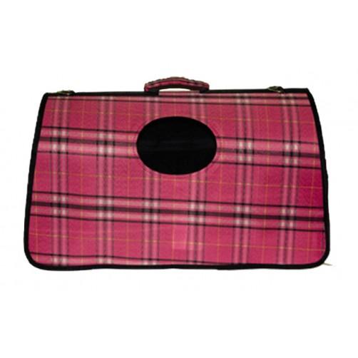 کیف حمل سگ و گربه طرح چهارخانه درشت