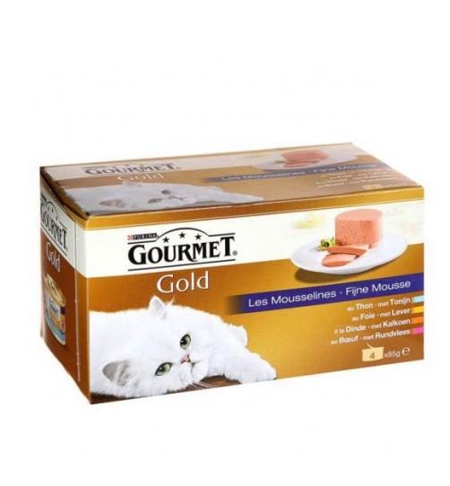 کنسرو گورمه گلد (نوار آبی)/ 4 عدد 85 گرمی/  Gourmet Gold fine mousse